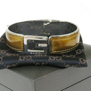 GUCCI G Bracelet Bangle Leather Gold Silver Plated